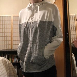 White and Grey Aeropostale Zip Up Athletic Hoodie